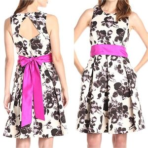 Eliza J NEW Floral Fit-and-Flare Dress w Bow sz 8